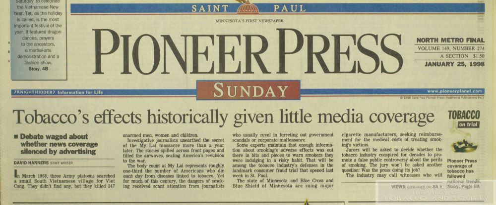 1998 Pioneer Press Tobaccos Effects Little Media Coverage wm