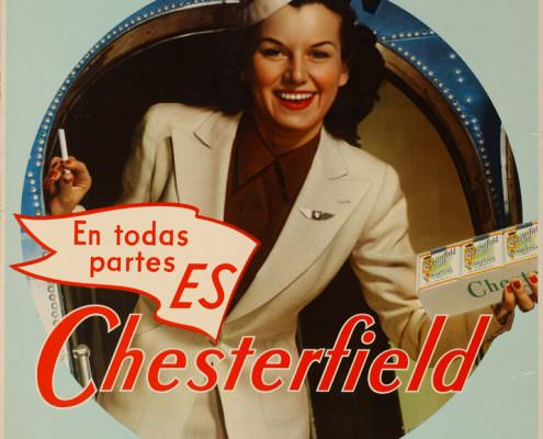Spanish language Ad for Chesterfield featuring a smiling flight attendant en todas partes es Chesterfield