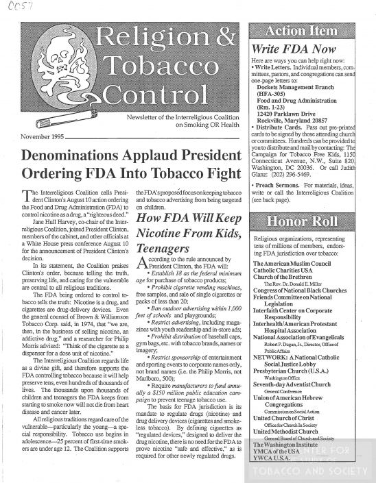 57Religion Tobacco Control newsletter November 1995