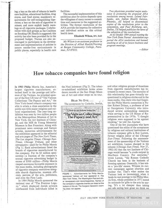 7How tobacco companies have found religion July 1985