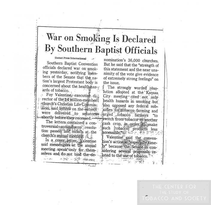 8War on Smoking is Declared By Southern Baptist Officials July 1984