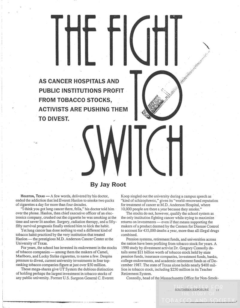 Hospitals Backed by Tobacco Industry article Fall 1993
