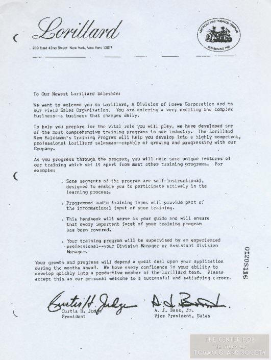 Lorillard Salesman letter wm