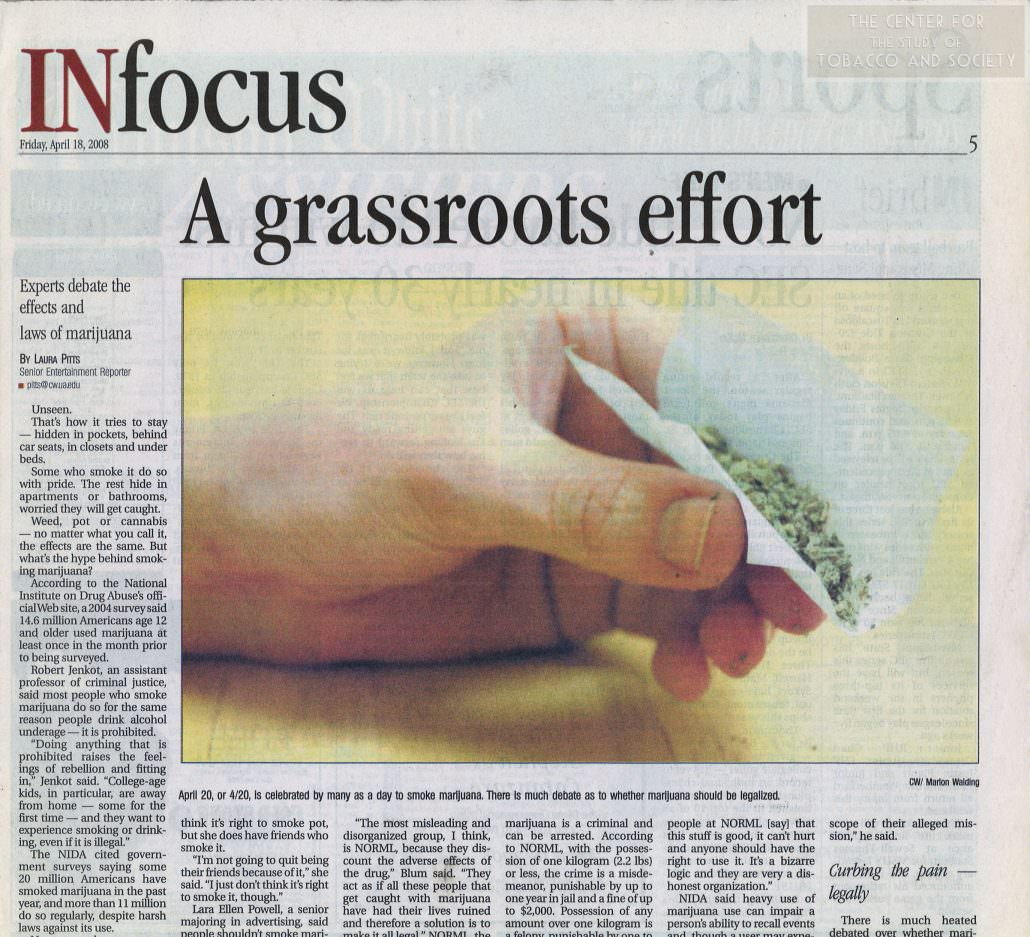 my opinion on the legalization of tobacco In my opinion tobacco is legal and marijuana isn't because of the long-term effects for example, many people smoke for decades before it truly becomes a huge problem for them (cancer, liver damage, etc), but for marijuana, the effects are much more intense in a shorter period of time.
