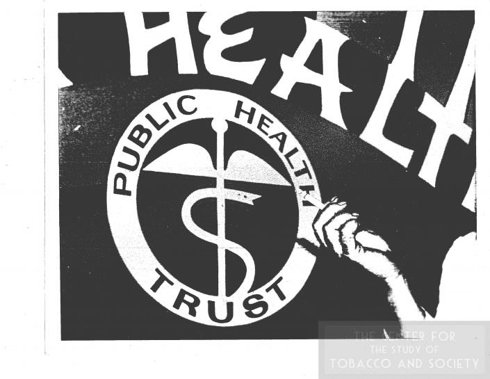 Photo of Hand with cigarette in front of public health trust insignia