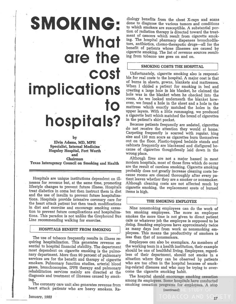 Smoking What are the cost implications to hospitals Texas Hospitals January 1983
