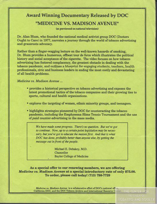 1992 Medicine vs. Madison Avenue flyer wm