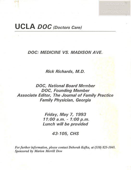 1993 DOC Medicine vs. Madison Ave Rick Richards MD Flyer wm