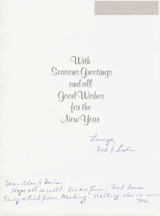 Christmas card from Fred Leslie MacDonald to AB Doris wm