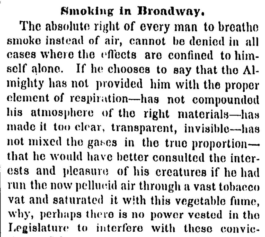 1853 Smoking in Broadway NYT