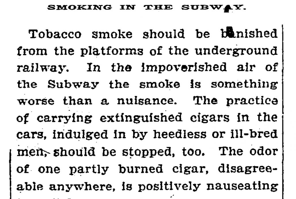 1909 Smoking in the Subway NYT