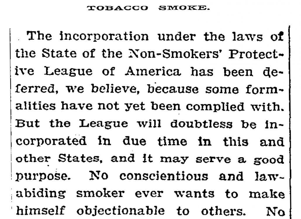 1911 Tobacco Smoke NYT