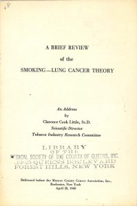 1960 A Brief Review of the Smoking Lung Cancer Theory Clarence Little  p1