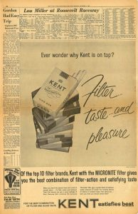 1963 New York World Telegram and Sun Kent ad