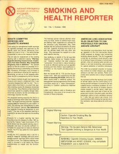 1983 Smoking and Health Reporter ACS related front page