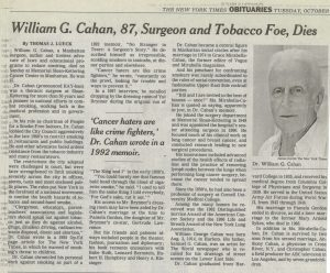 2001 New York Times Cahan obit
