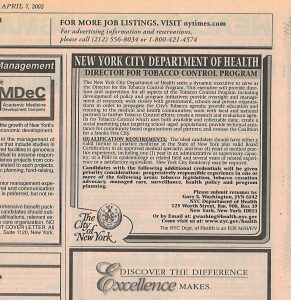 2002 NYC Department of Health job ad