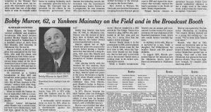 2008 The New York Times Bobby Murcer Obituary