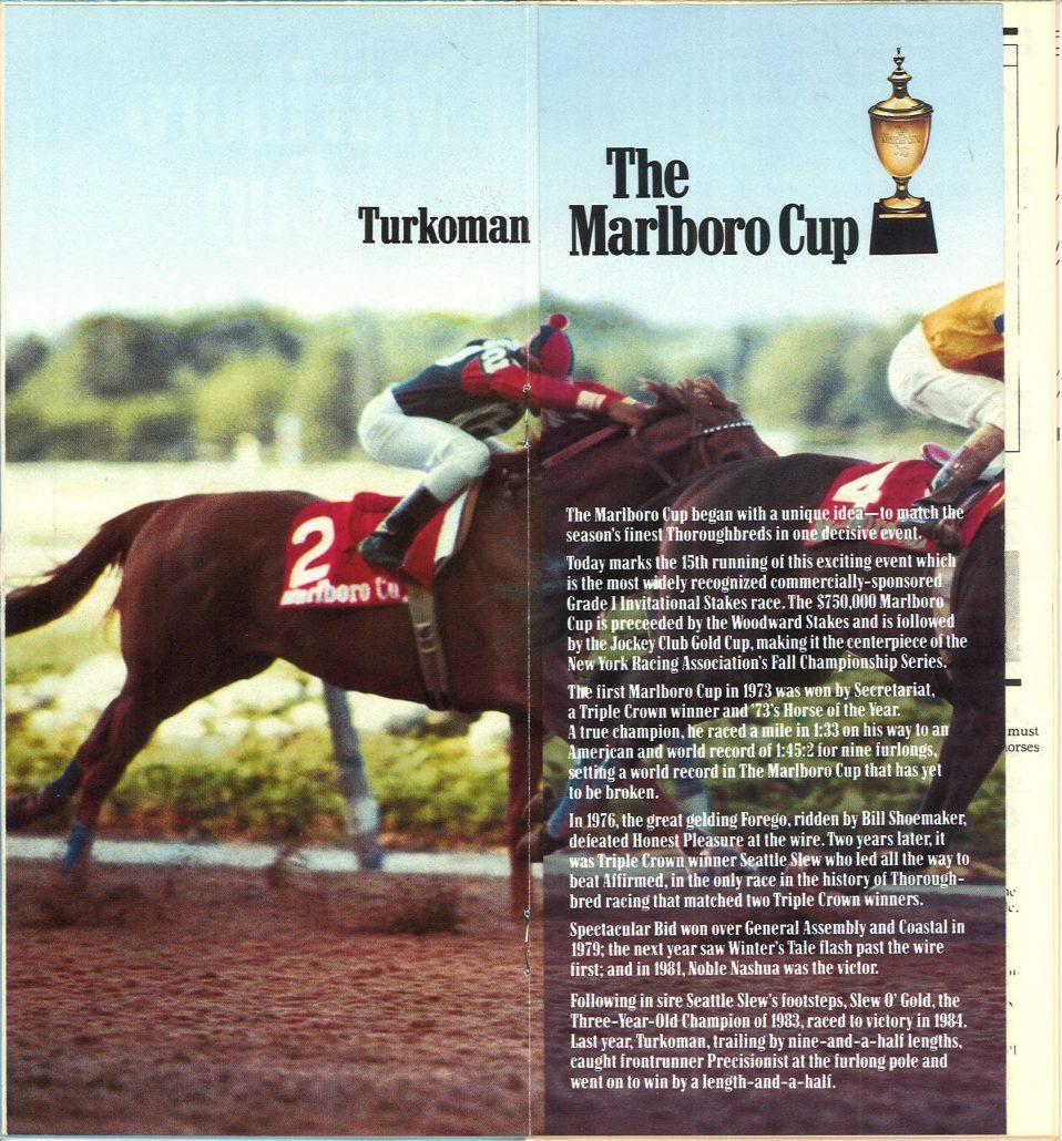 Belmont Park Marlboro Cup 1987 program  inside