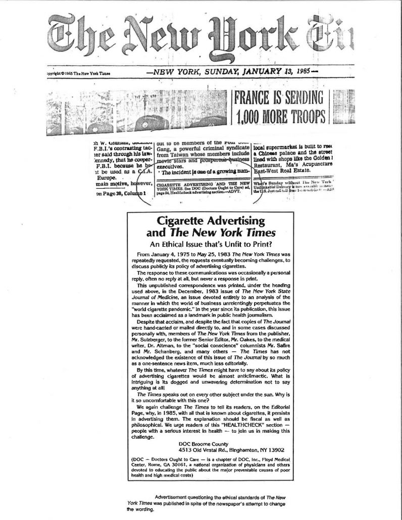 Cigarette ads in New York Times