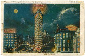 Flatiron Bldg Post card 1906 United Cigar sign