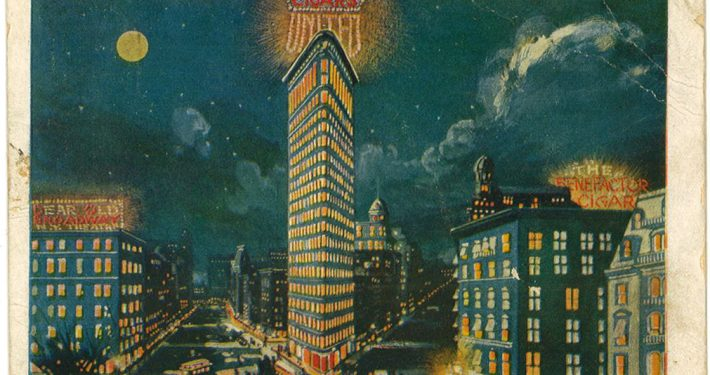 Flatiron Bldg Post card 1906 United Cigar sign