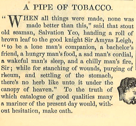 Harpers Weekly 1860 A Pipe of Tobacco  Excerpt