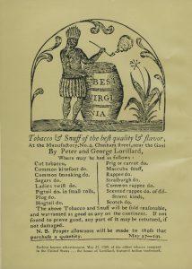 Lorillard ad 1789 Lorillard and Tobacco book