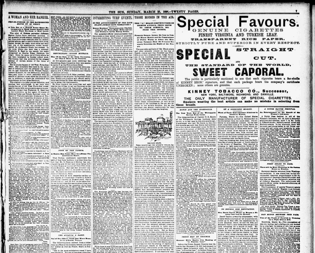 New York Sun 1888 Sweet Caporal ad  page