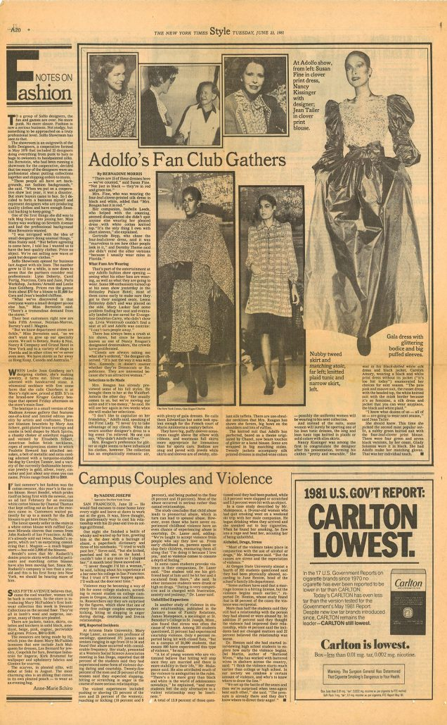 New York Times Style page 1981 Carlton ad 1