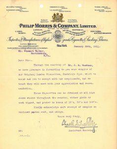 Philip Morris Samples Letter