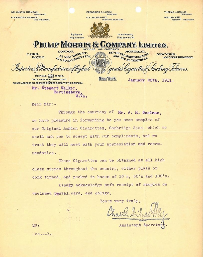 Philip Morris Samples Letter