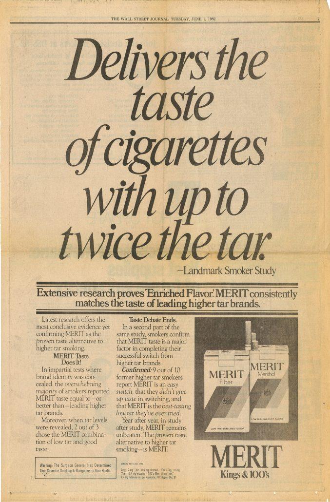 Wall Street Journal 1982 Merit full page