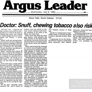 1980 Argus Leader Snuff Chewing Tobacco Also Risky