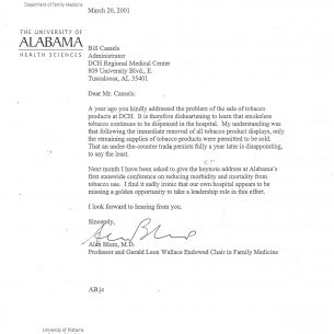 2001 AB Letter to Bill Cassels on Smokeless Tobacco wm