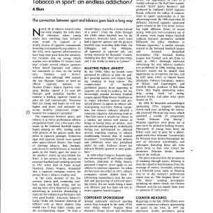 2004 Tobacco Control Tobacco in Sport An Endless Addiction wm