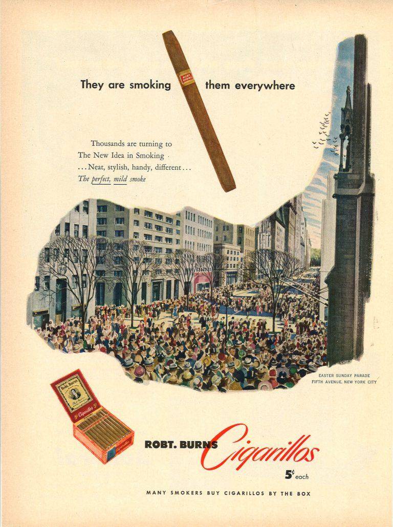 1950 Robert Burns Cigarillos 5th Ave Easter