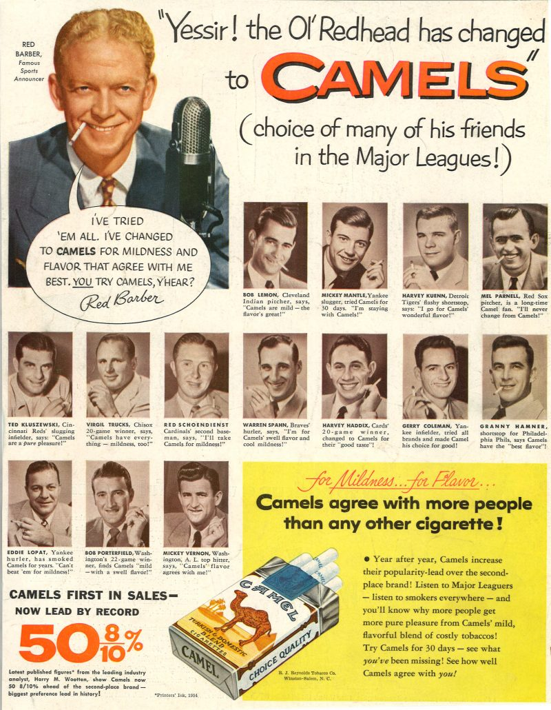 1954 Red Barber Mickey Mantle Camel