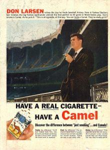 1957 Camel ad Don Larsen Yankee Stadium