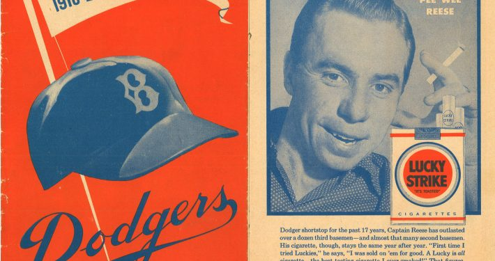 1957 Dodgers Program Front Cover Lucky Strike Ad