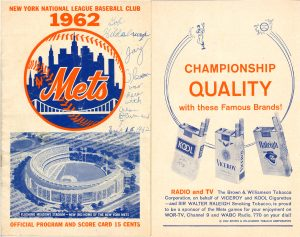 1962 Mets Program Front Cover Brown Williamson Sponsorship Ad