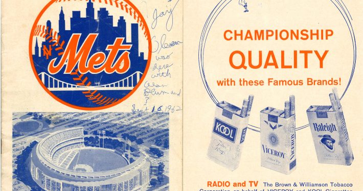 1962 Mets Program Front Cover Brown Williamson Sponsorship Ad