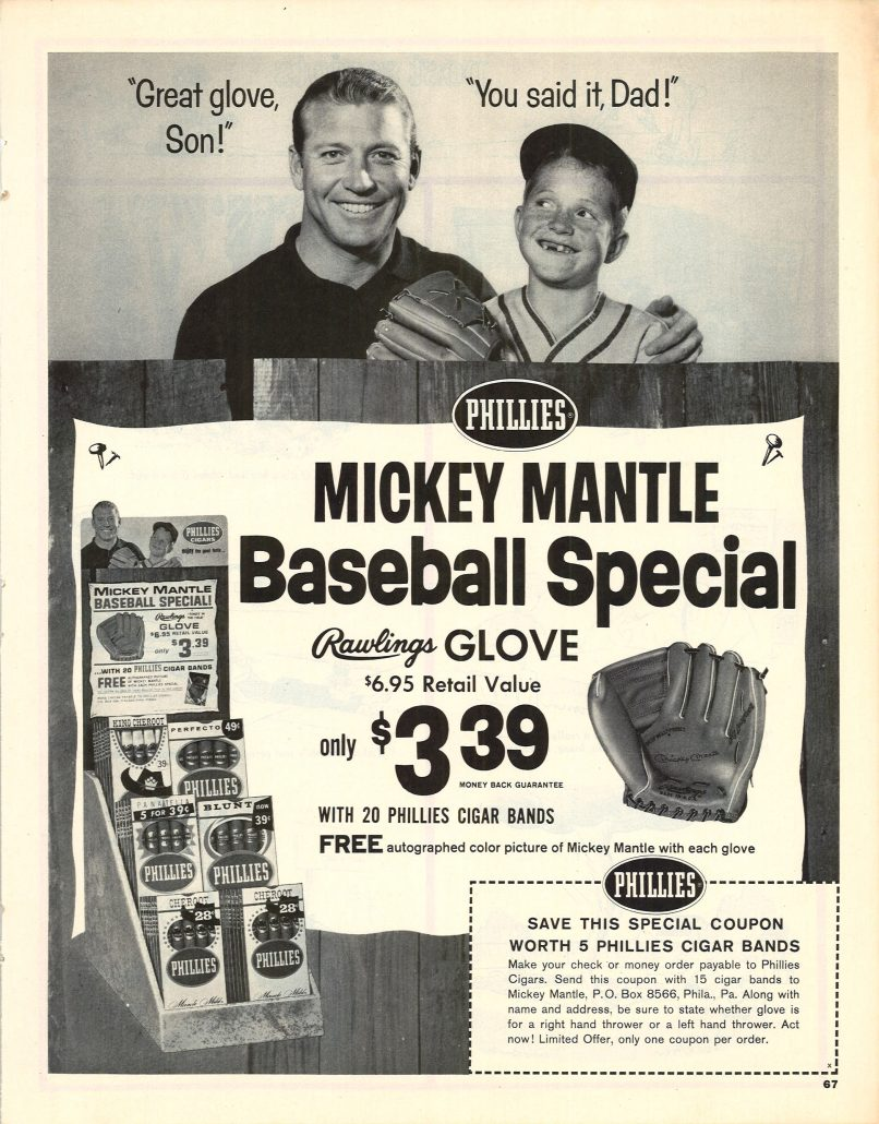 1964 Mickey Mantle for Phillies bw ad
