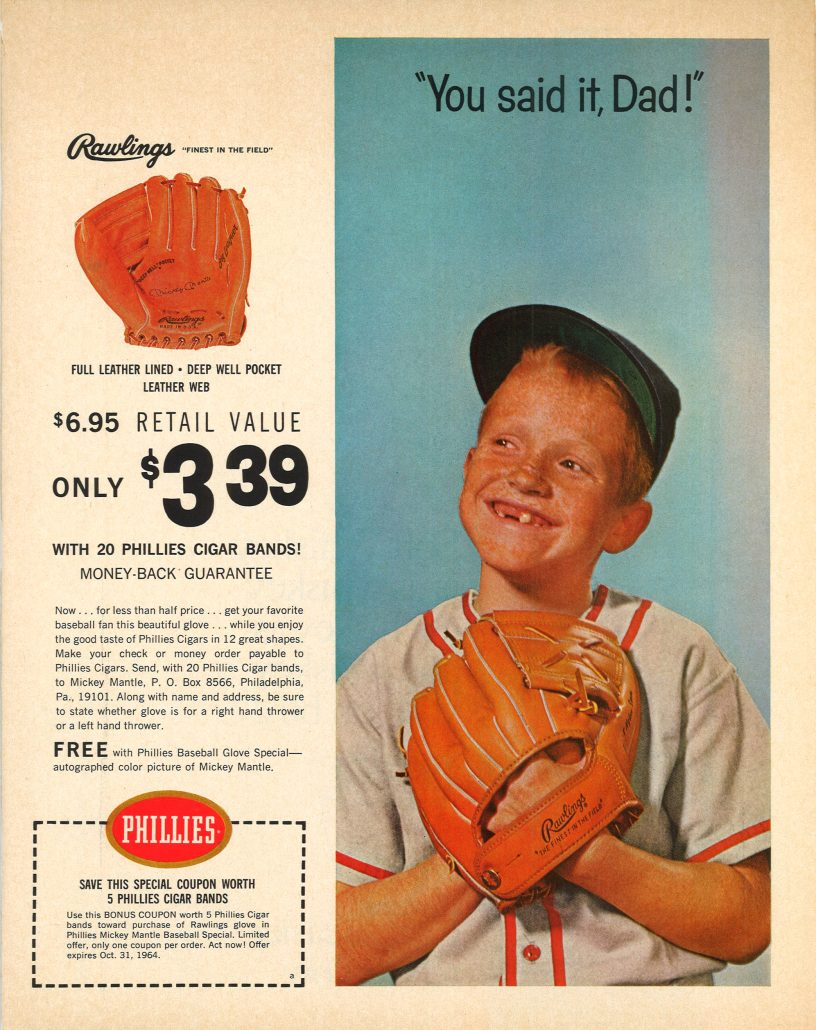 1964 Mickey Mantle glove Phillies color ad