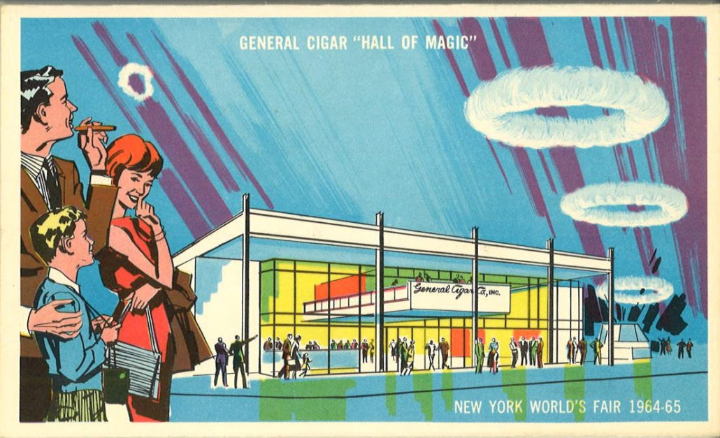 1964 NY Worlds Fair General Cigars postcard front
