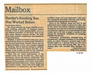 1980 Garden Smoking ban Letter