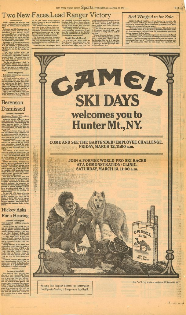 1982 Sports page Camel ski ad re