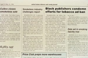 1986 Black publishers condemn efforts to stop advertising