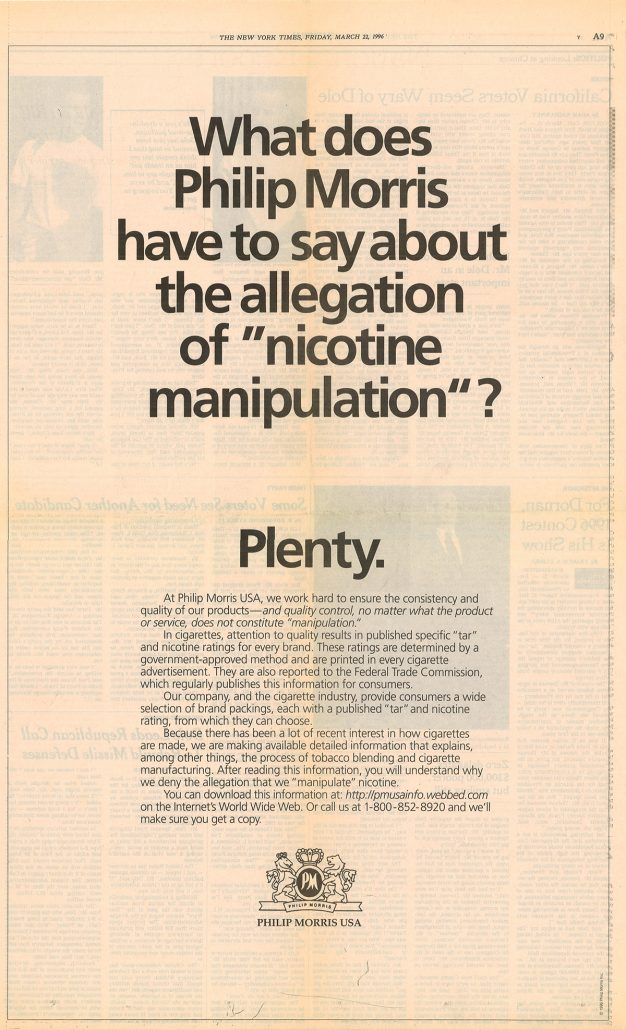 1996 What does Philip Morris say about manipulation re