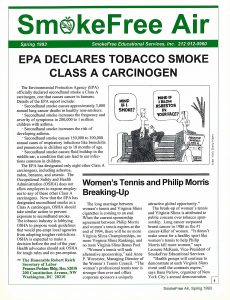 1998 SmokeFree air Tobacco Smoke Carcinogen